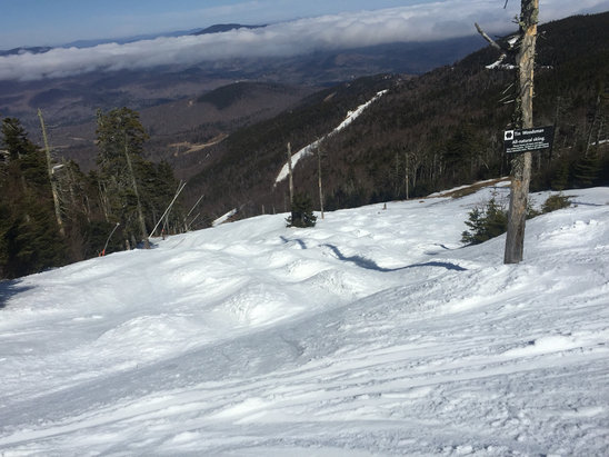 Sunday River - Skied all Sunday.  Lots of fog in the morning, but not so much in the Jordan side.  The afternoon was fantastic.  Best blacks in the region open on White Cap and Aurora.  #springmoguls - ©bbshot