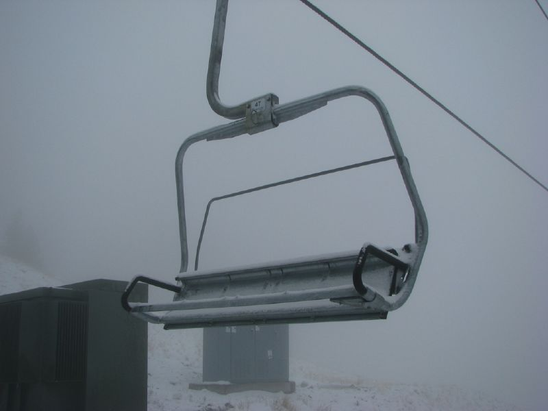 An incoming storm does not prevent this chairlift from running at Heavenly Mountain Resort in South Lake Tahoe, California