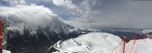 Chamonix Mont-Blanc - Mont Blanc under clouds Spring snow conditions in Brevent today - ©Auntie B's iphone