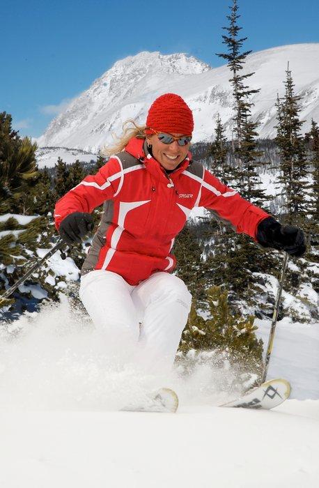 Woman skiing at Eldora Mtn, CO.