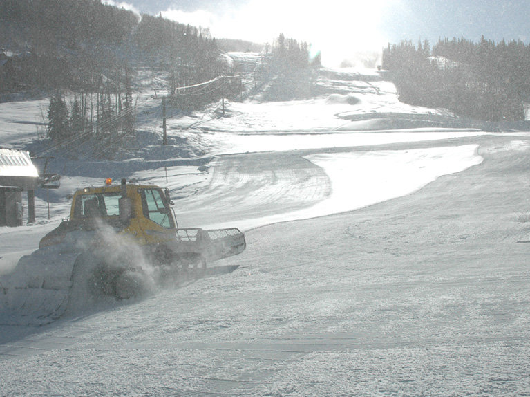 Snowcat grooming at Telluride, CO, Nov 23, 2009.