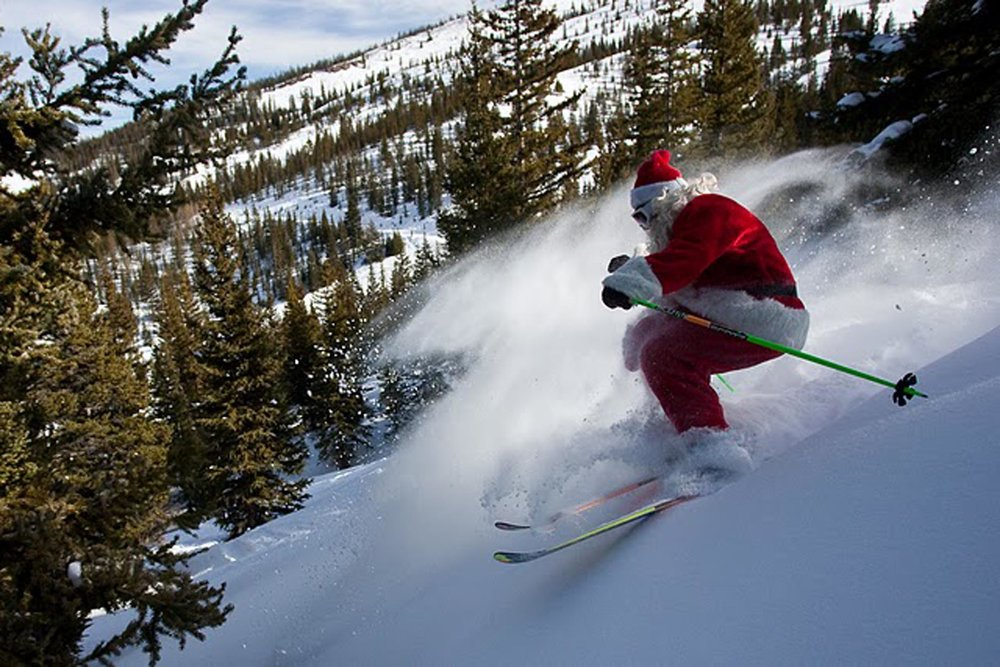 Santa in powder at Aspen Snowmass