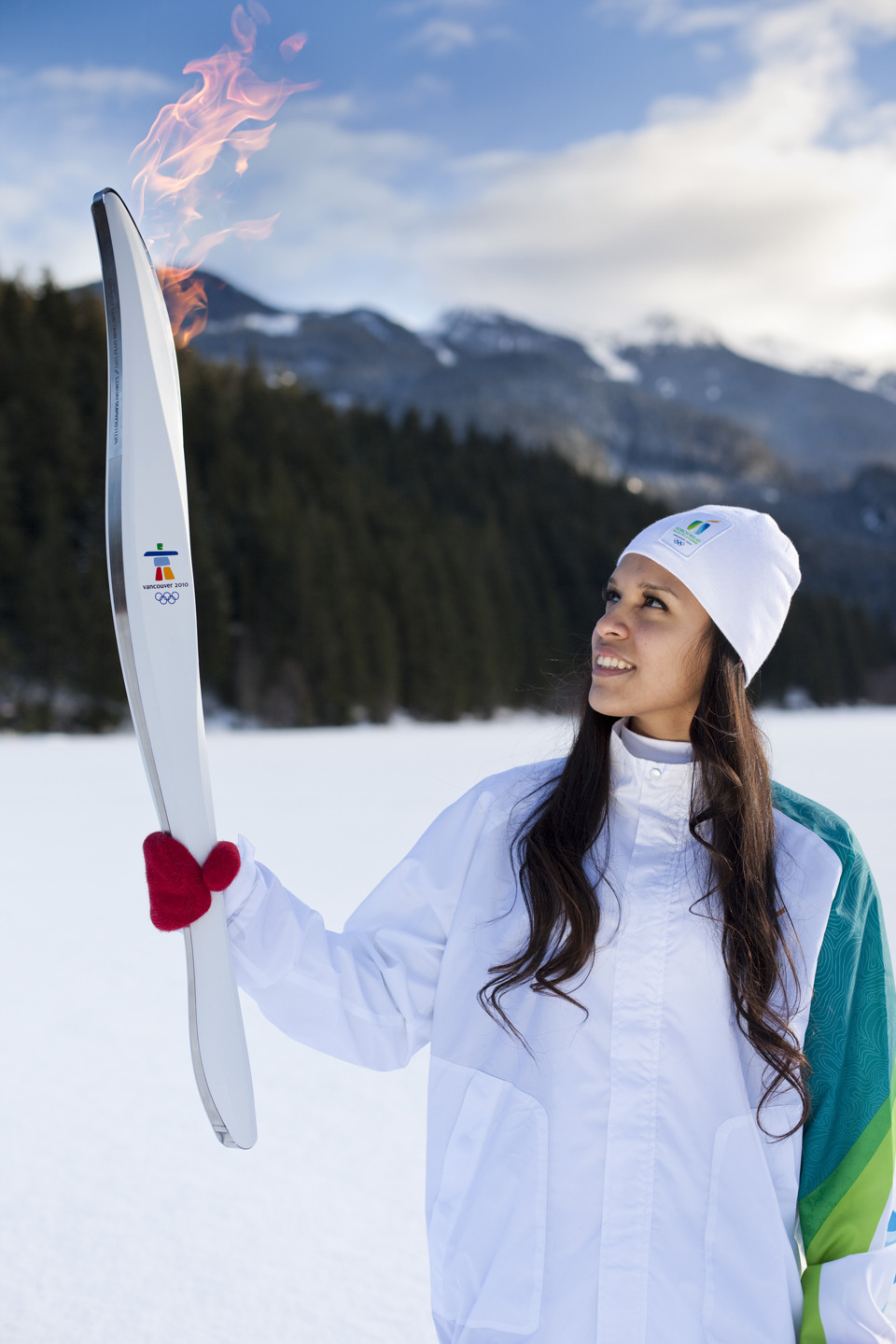 Model with 2010 Vancouver Winter Olympics torch
