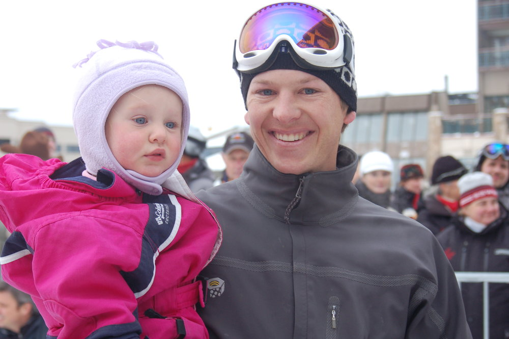 Todd Lodwick, six-time Olympian and daughter at Steamboat, CO opening day.