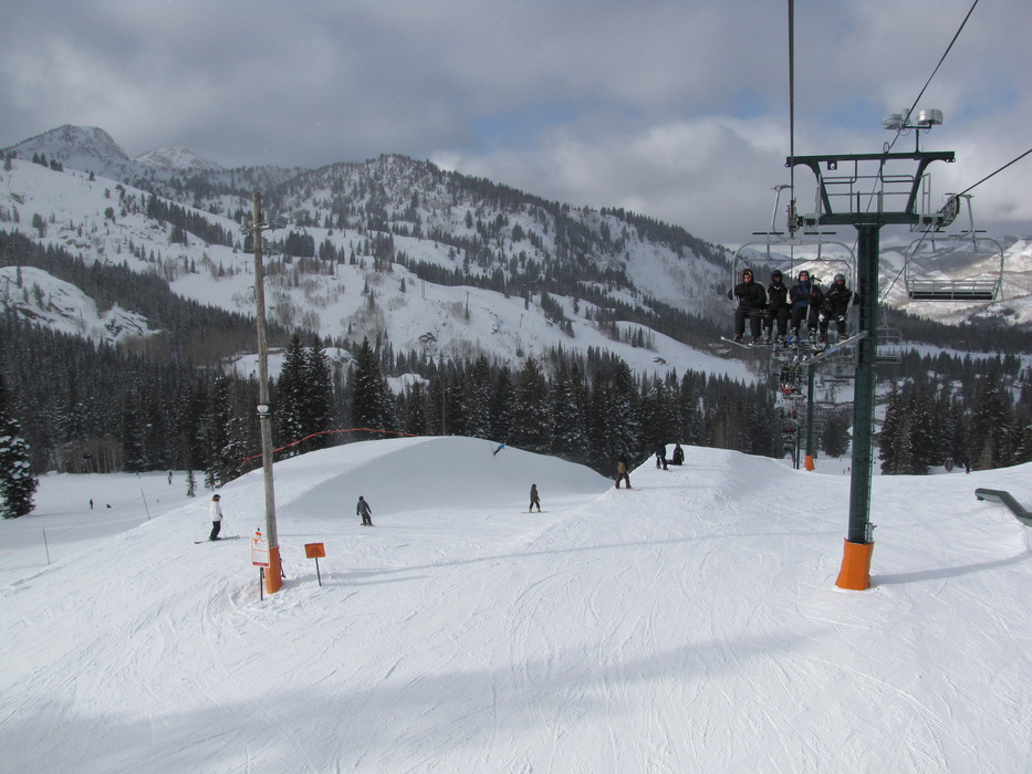Lifts and terrain park at Brighton, Utah.