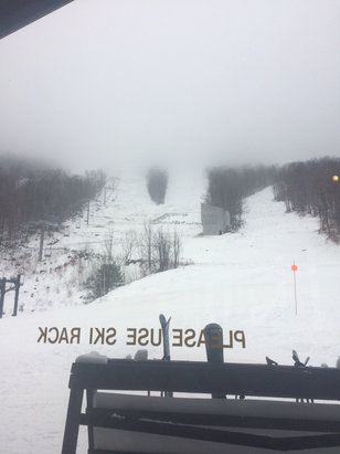 Whiteface Mountain Resort - Nice opening day conditions. Good in the morning. Snowing up top raining on the bottom. Foggy.  - ©Susan Protzman's iPhone