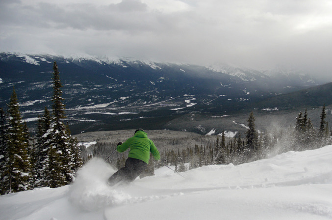 A skier rides down Marmot Basin in fresh snow. Photo courtesy of Marmot Basin.