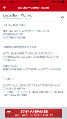 Snowbird - Major winter storm has started.  18-36
