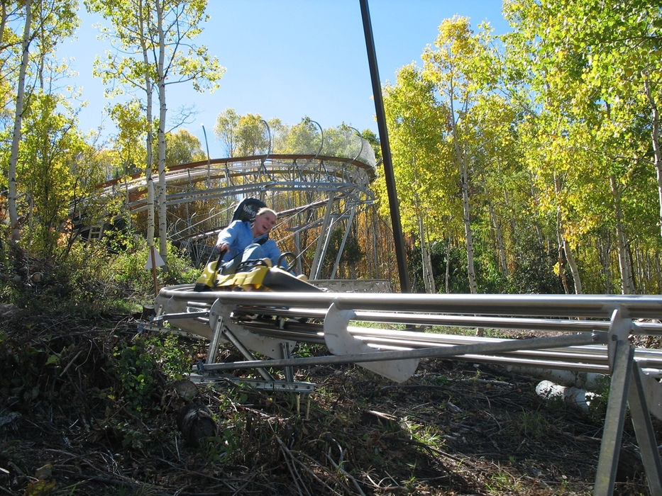 Rider on Spirit Mountain's alpine coaster.