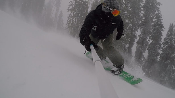 Arizona Snowbowl - Blinding snowfall and heavy winds didn't keep us off the mountain. Snowed over a foot of fresh powder! Very long, beautiful runs! Had a blast!!! - ©Ben's iPhone