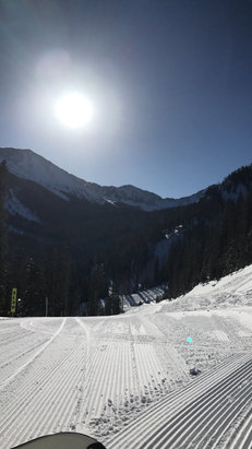 Taos Ski Valley - One of the first on the mountain today, well groomed lots of powder areas  - ©Kolton's iPhone