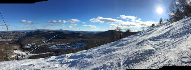 Killington Resort - Snow was great 12/31-1/1. 80-90% of mt open. Grass &rocks almost completely covered. Tons of made snow combined with chopped groom snow     - ©iPhone