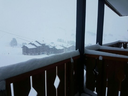 La Plagne - Still snowing in Belle Plagne! Visibility poor. The rep said we are due 30cm of snow today. - ©anonymous