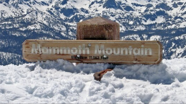 Mammoth Mountain Ski Area - For the snow depth doubters. This sign is about 20 feet tall. Snowcats have scraped another 10 feet off the top to find the sign after recent storms - ©nowline's iPhone