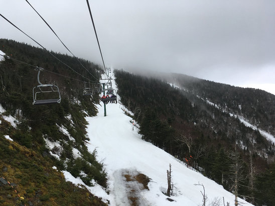 Jay Peak - Sierra cement. Where the snow was deep is now thick and heavy.  Lots of bare spots on the bump runs.  Did not see any ice.  Although it's not looking good tomorrow.  Hoping for quick change over to snow tonight.  - ©stefan's iPhone