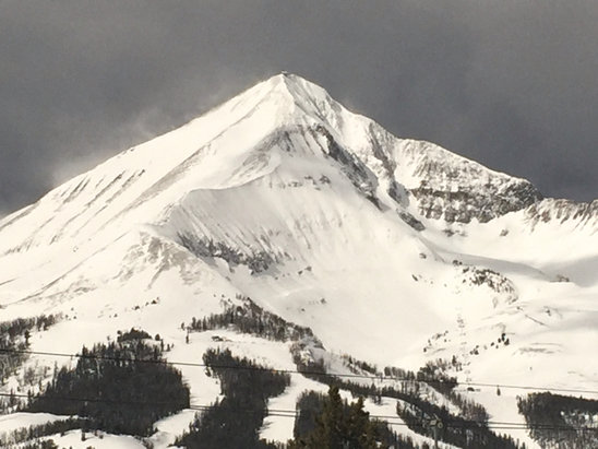 Big Sky Resort - 3-5 inches overnight. First few runs were awesome. After that snow got smashed up and was wet heavy.   - ©scott carmichael's iPhon