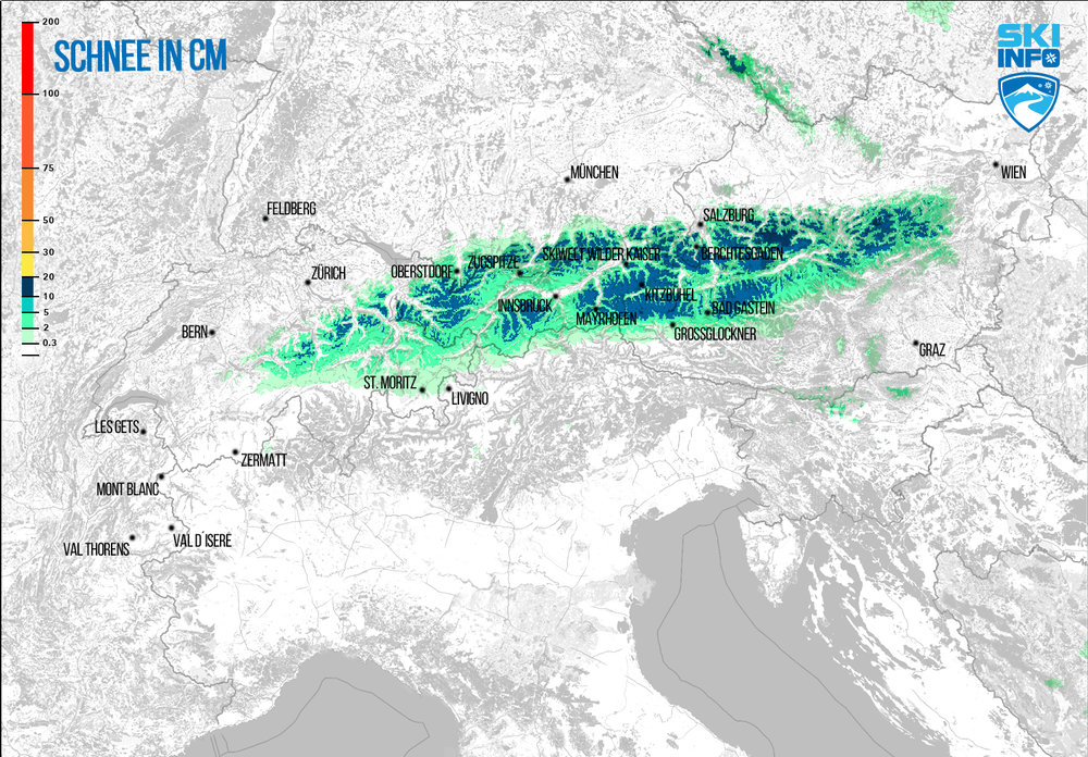 Schneevorhersage für Alpenraum vom 21.04.2017 (6:30 Uhr) für die nächsten 48 Stunden - ©[c] ZAMG / Skiinfo