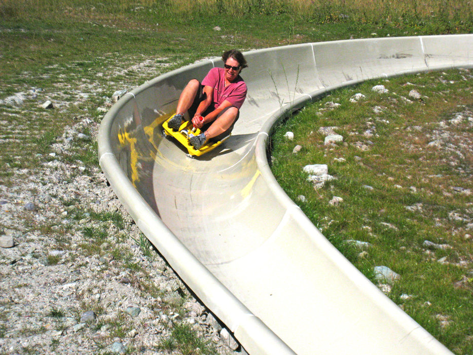 Rider on alpine slide at Whitefish, MT.