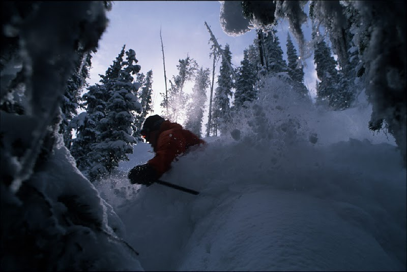 Skier crashing through powder at Lost Trail, Montana.