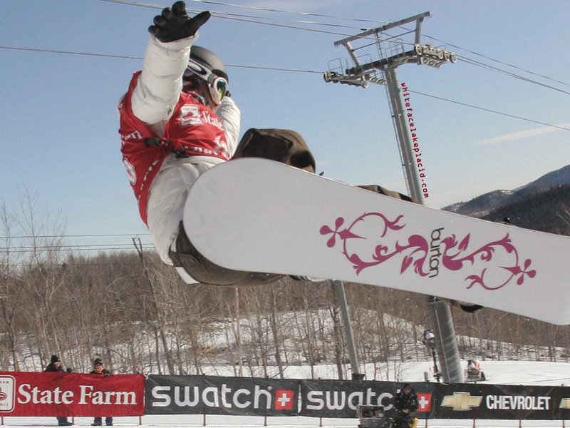 A snowboarder gets air at Whiteface, New York