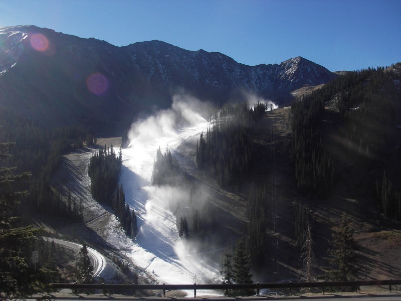 Snowmaking at Arapahoe Basin, CO.