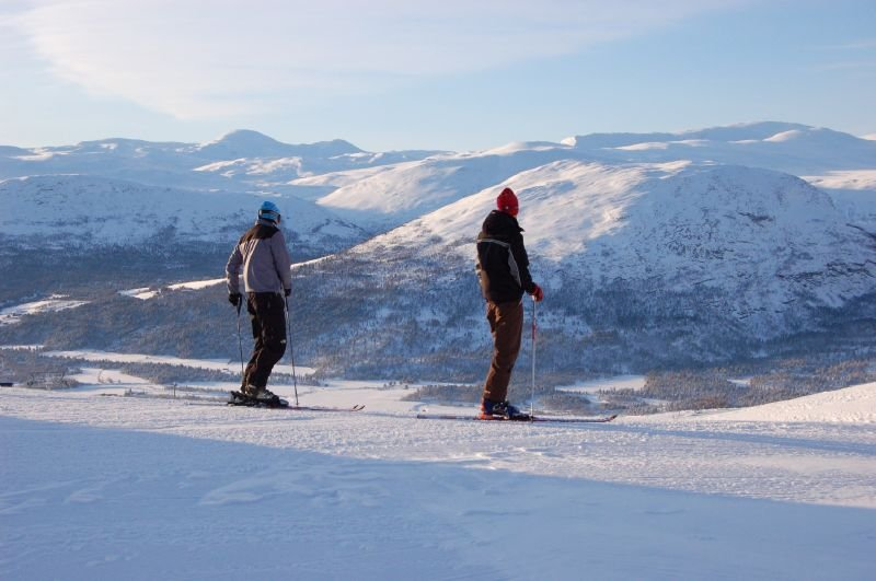 Skiers take in the view at Bjorli, Norway