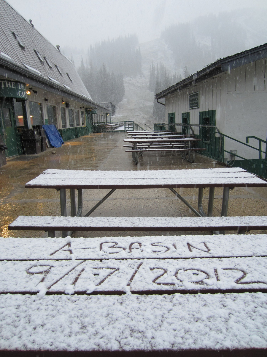 Arapahoe Basin got a dusting of snow this morning.