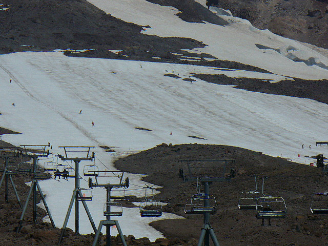 The Palmer Snowfield is open for summer and fall skiing on Mt. Hood.