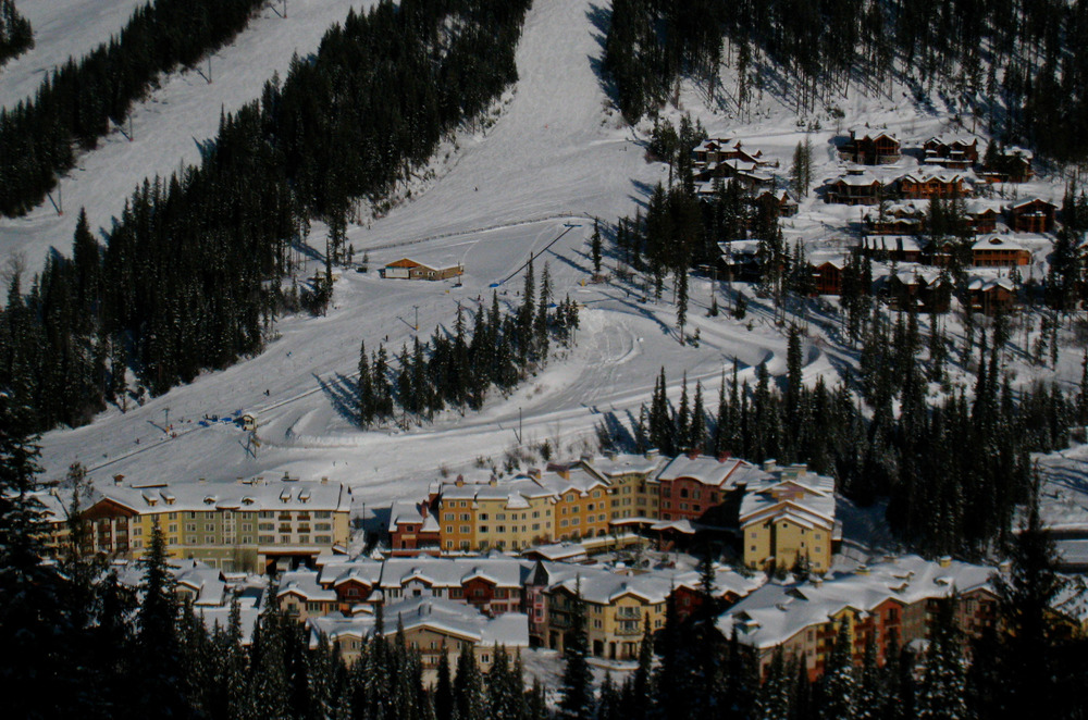 The village at Sun Peaks Resort tucks below three mountains for skiing. Photo by Becky Lomax.