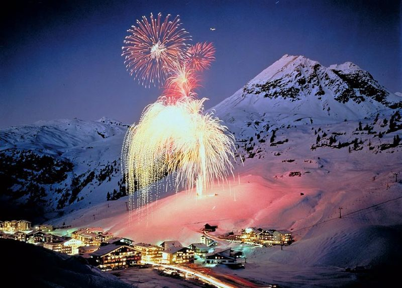 Fireworks lighting up the village of Zuers.