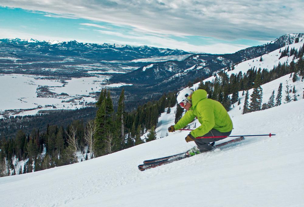A skier rips up a Jackson Hole groomer. Photo courtesy of Jackson Hole Mountain Resort.
