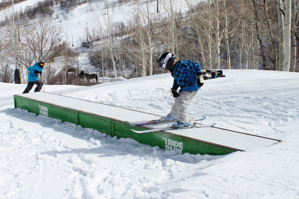 Learning to slide boxes in the park at Park City Mountain Resort