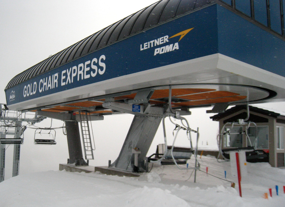 The Gold Chair Express accesses Nakiska's longest runs. Photo by Becky Lomax.