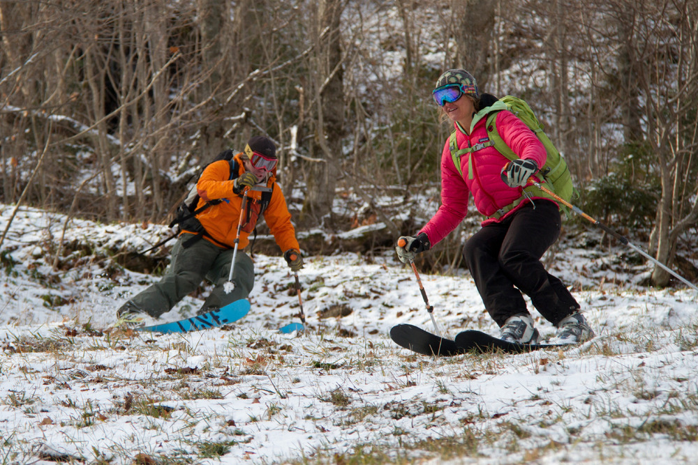 By early November, the snowfall from October had all but melted away and skiers were back to happily making the most of what the fall season usually offers-- thin cover.  - ©Ember Photography