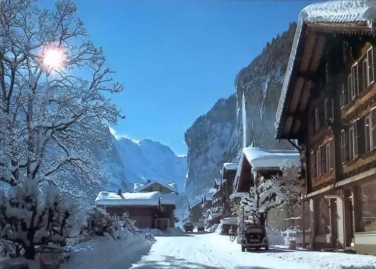 The scenic village of Lauterbrunnen, SUI.