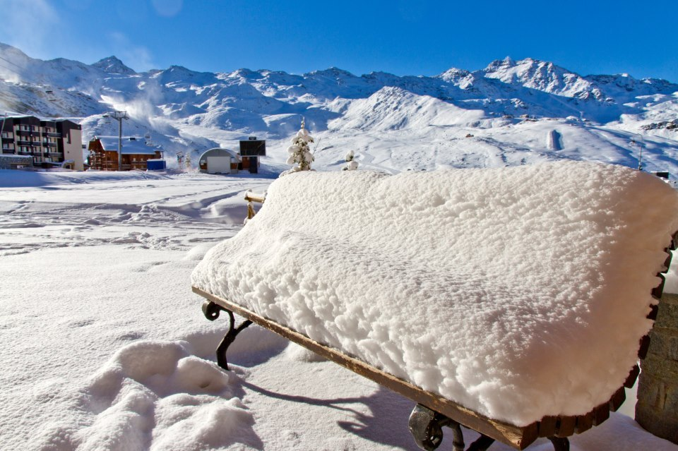Snow and sun in Val Thorens ahead of Nov. 24 opening. Photo taken Oct. 29
