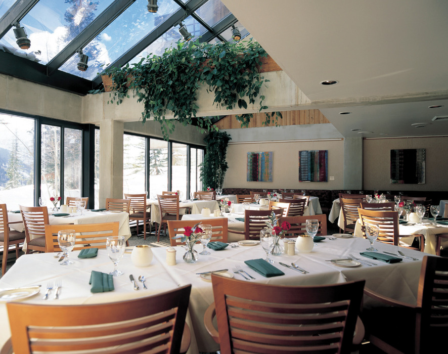 The intimate Bistro Lodge restaurant at Snowbird Resort