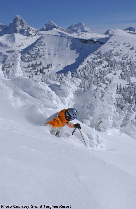 Skiing below the Grand Teton in Grand Targhee. Photo by William R. Sallaz, courtesy of Grand Targhee Resort