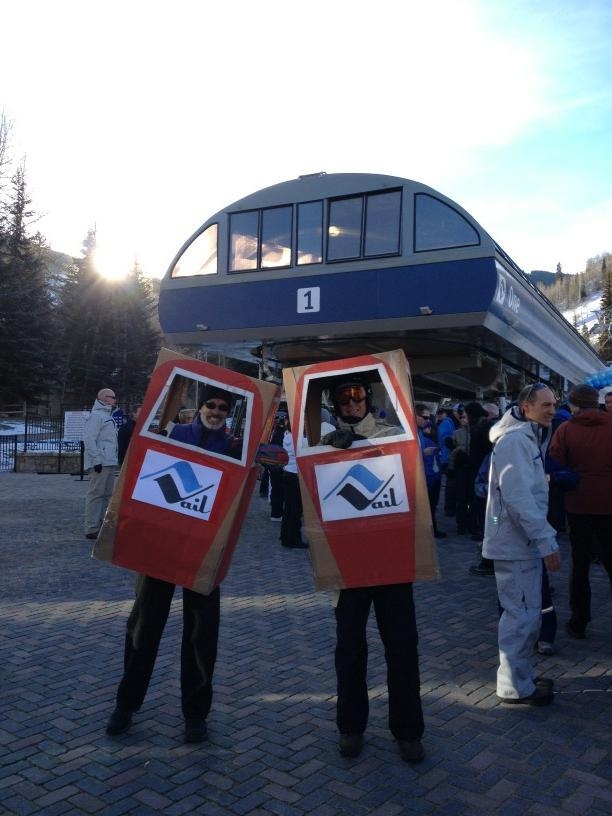 Skiers and riders in costume for opening day at Vail.