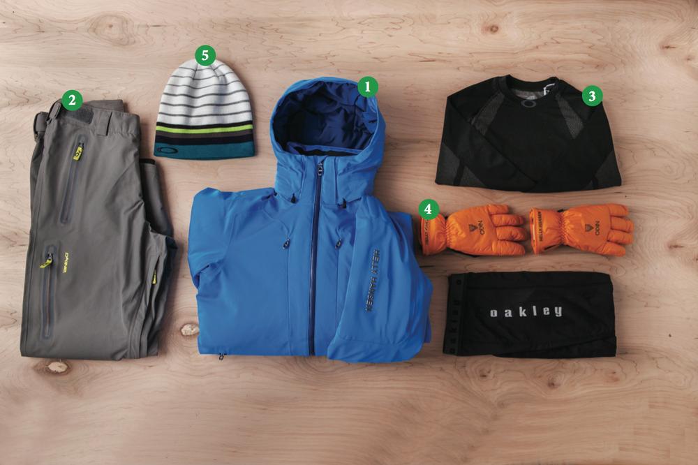 Men's Outfit #1: 1) Helly Hansen Enigma Jacket; 2) Dakine Clutch Pants; 3) Oakley Unification Baselayer (Top and Bottom); 4) Helly Hanson Odin Insulator Glove; 5) Oakley Snowmad Deepie