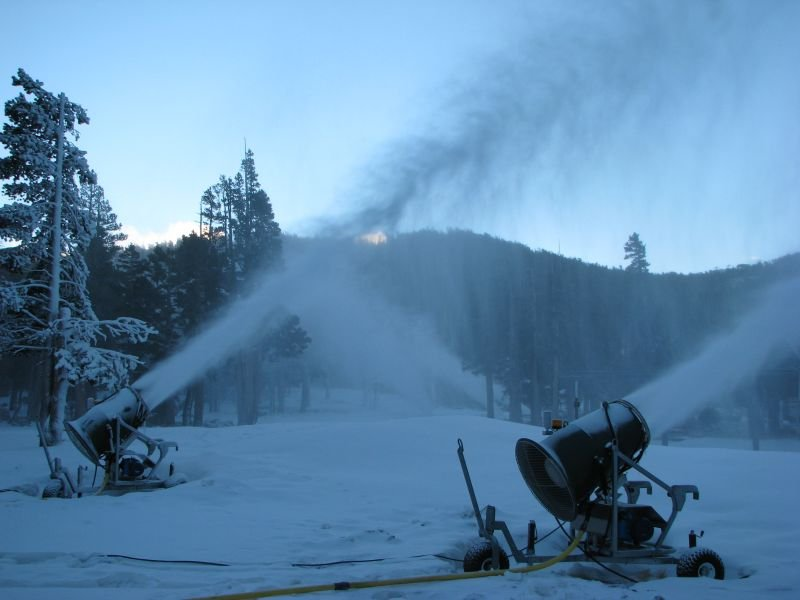 Heavenly Mountain Resort in South Lake Tahoe tests their snowmaking machines