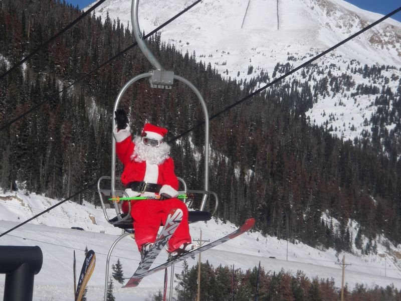 Santa on a chairlift at Loveland, CO.