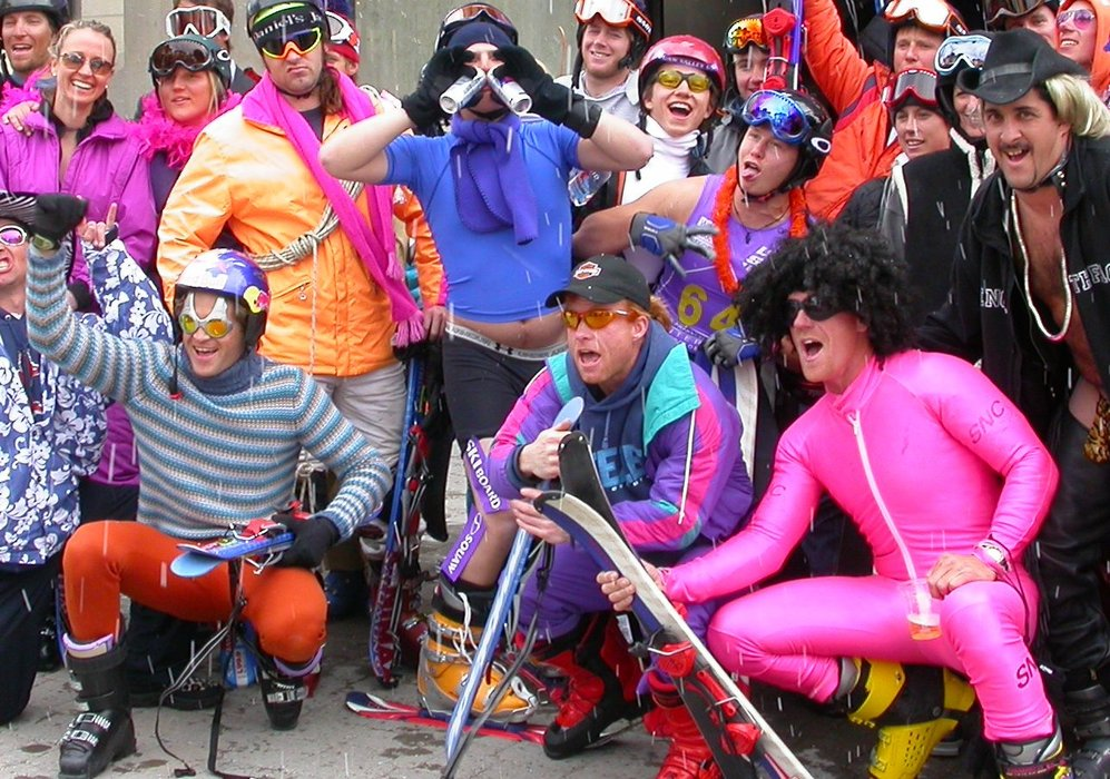 Pain McShlonkey Classic 2003 at Squaw Valley. Shane McConkey is in the front left in orange pants.