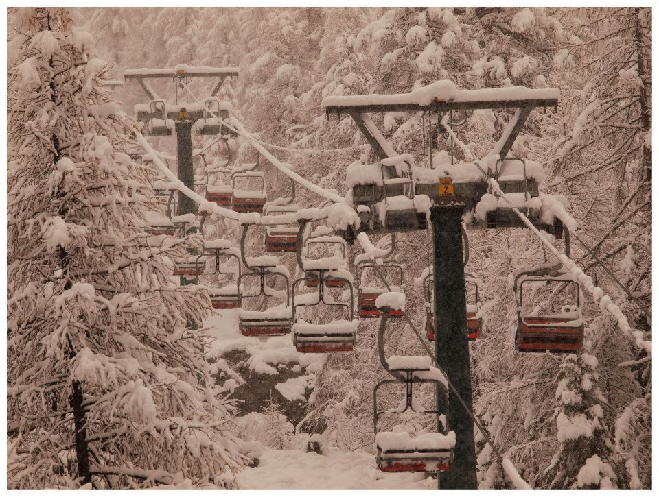 Snow piling up on the chairs in Gressoney - Monterosa Ski, Italy. Nov. 29, 2012