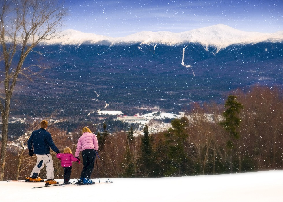 Skiing Bretton Woods comes with majestic views of New Hampshire's Presidential Range. Photo Courtesy of Omni Mount Washington Resort.