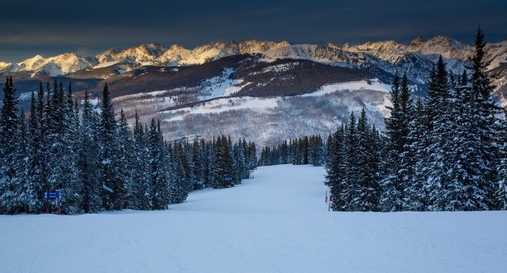 A shot from the top of Vail Mountain during a brief break in the storm at sunset. The storm lasted six days and dumped 25 inches.