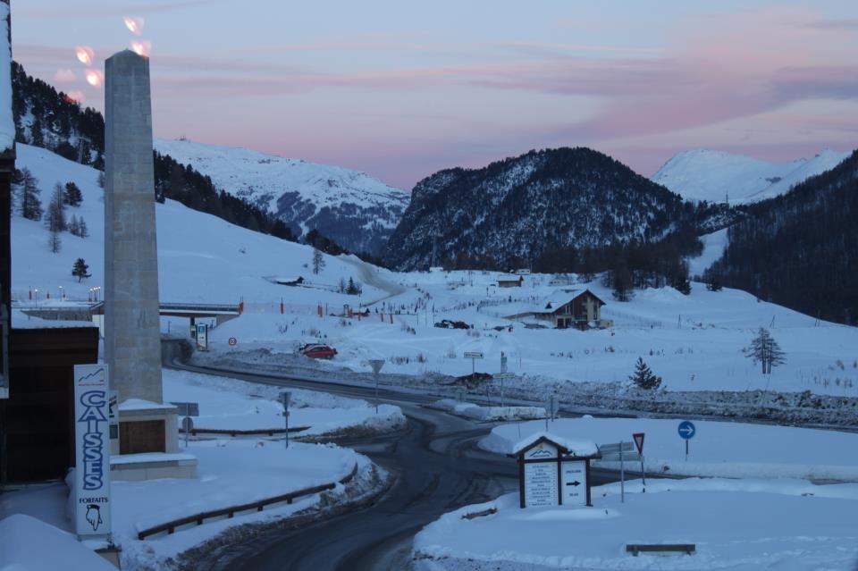 Sunset over snowy Montgenevre Dec. 12, 2012