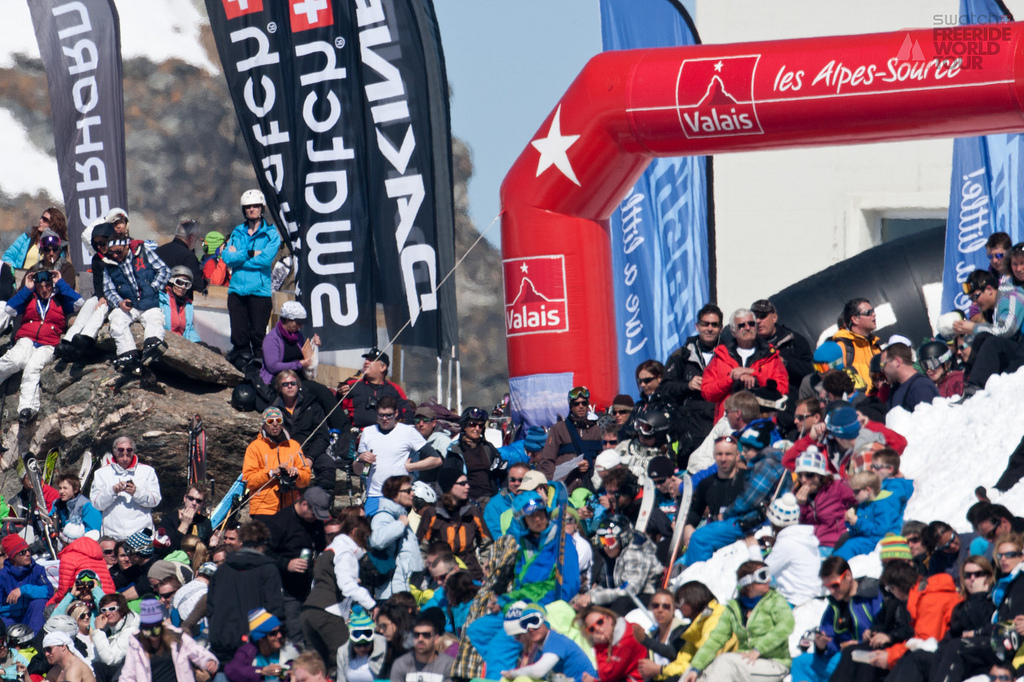 Crowds gather to watch the Swatch Freeride World Tour 2012 Verbier