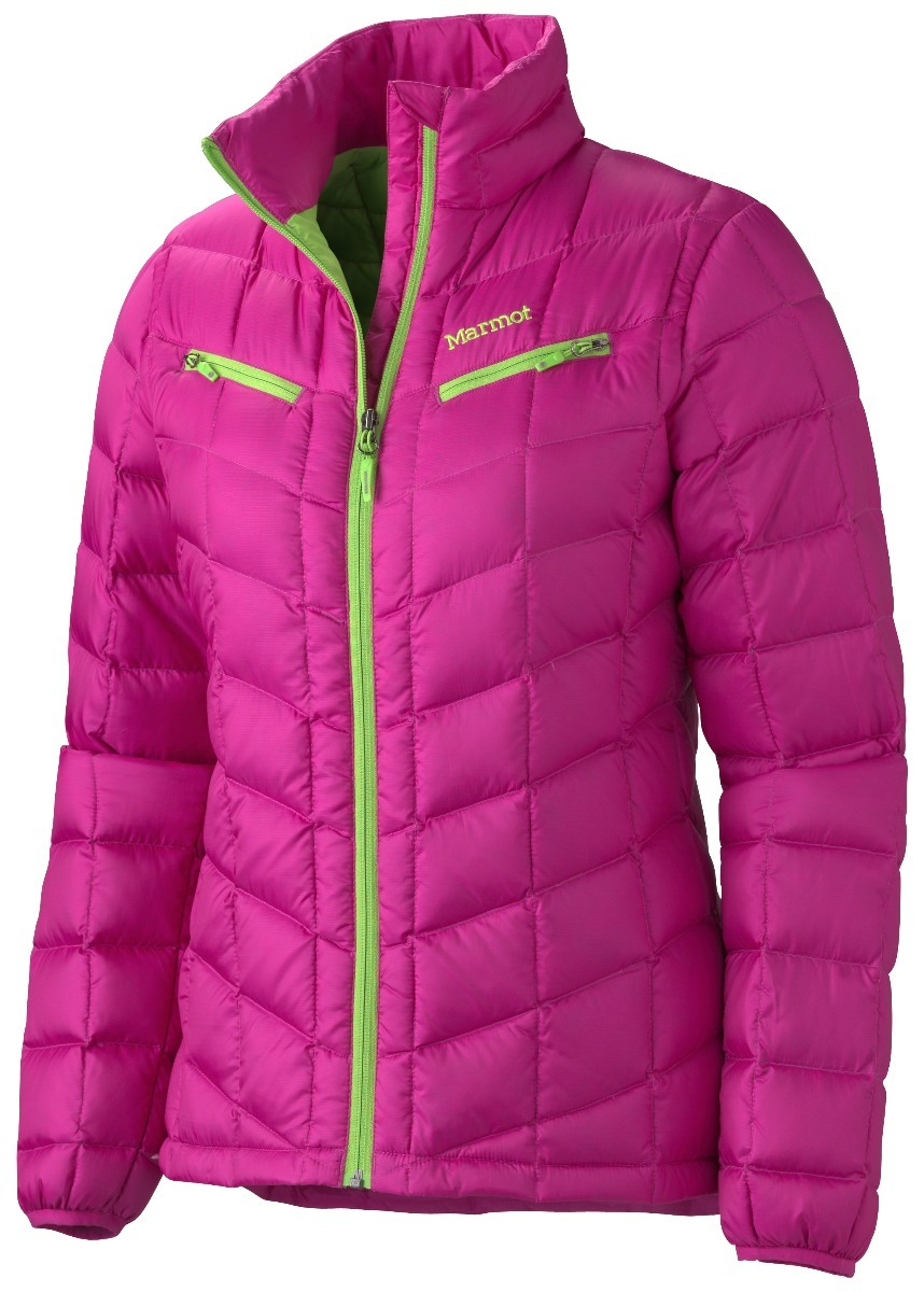 Marmot Safire - The Safire doubles as an insulating layer for under a shell or as a stand-alone jacket for the après-ski scene. With diamond-angled baffling and a shirt-like collar, the 650 fill down jacket has a recycled polyester shell and weighs in at 15.2 ounces. Women will appreciate the stylish zippered chest pockets and tailored fit. $165.