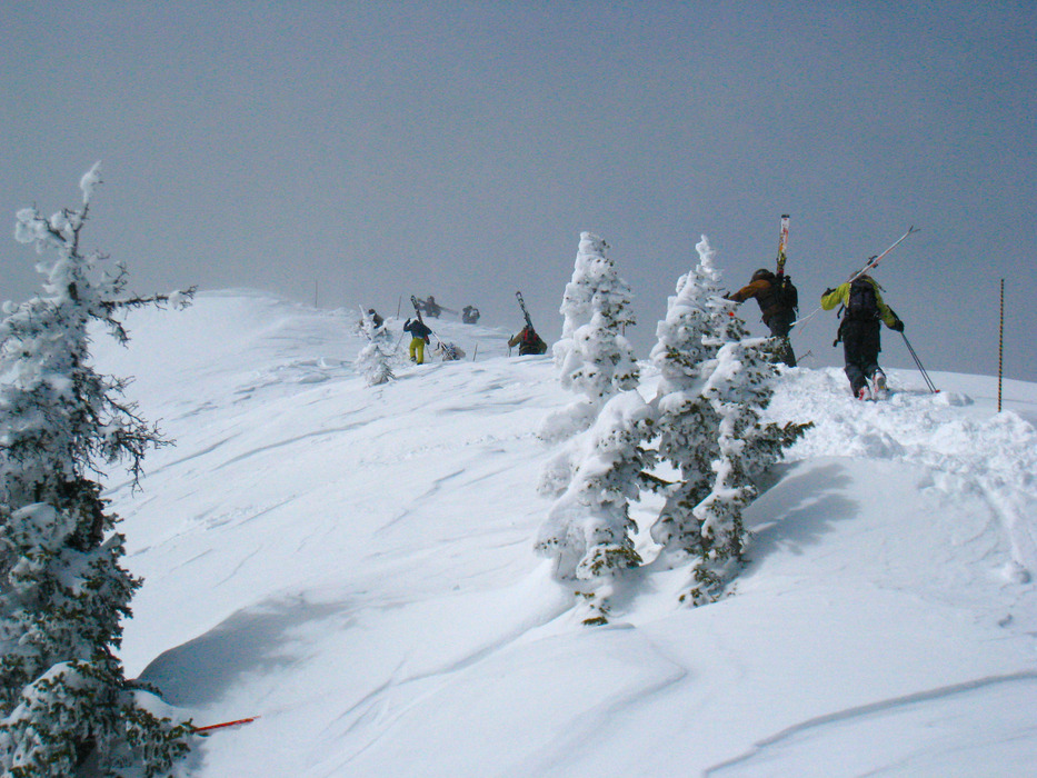 Hikers climbing to ski the ridge at Bridger Bowl. Photo by Becky Lomax.
